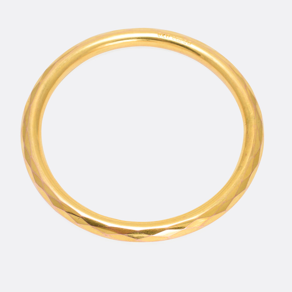Art Deco Faceted Gold Bangle