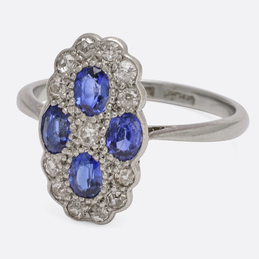 Art Deco Four Sapphire & Diamond Cluster Ring