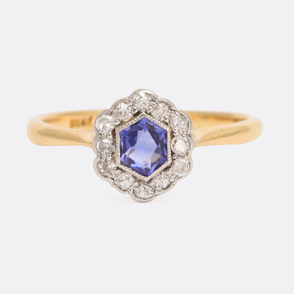 Art Deco Hexagonal Sapphire & Diamond Cluster Ring