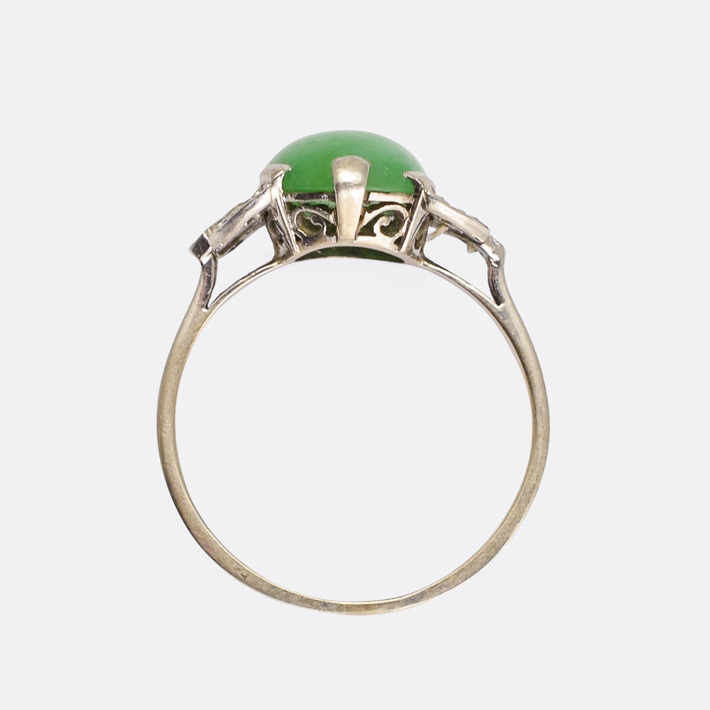 Art Deco Jade & Diamond Cocktail Ring