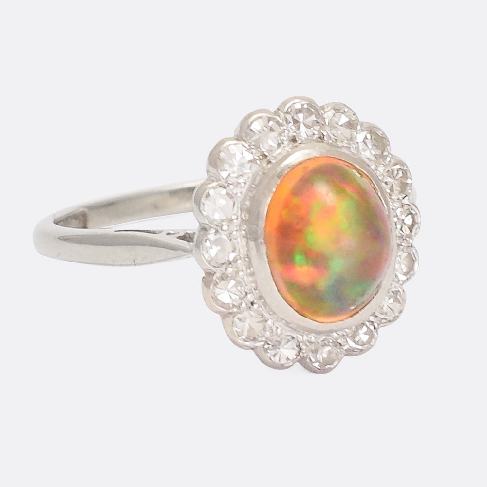 Art Deco Jelly Opal Flower Cluster Ring