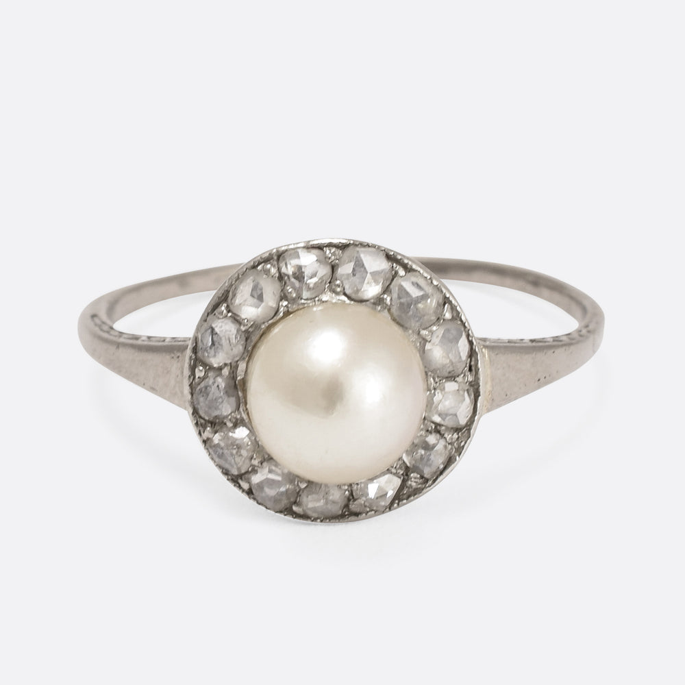 Art Deco Natural Pearl & Diamond Ring