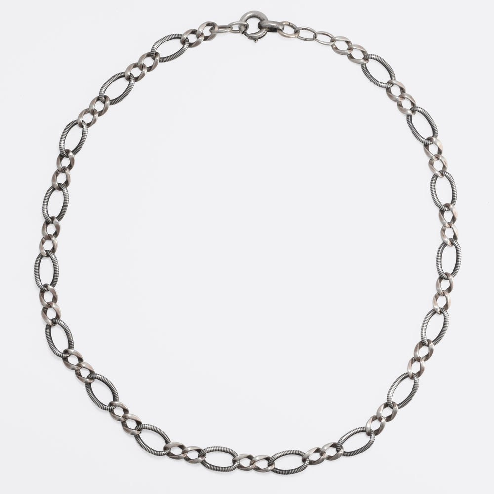 Art Deco Niello Silver Curb-Link Chain