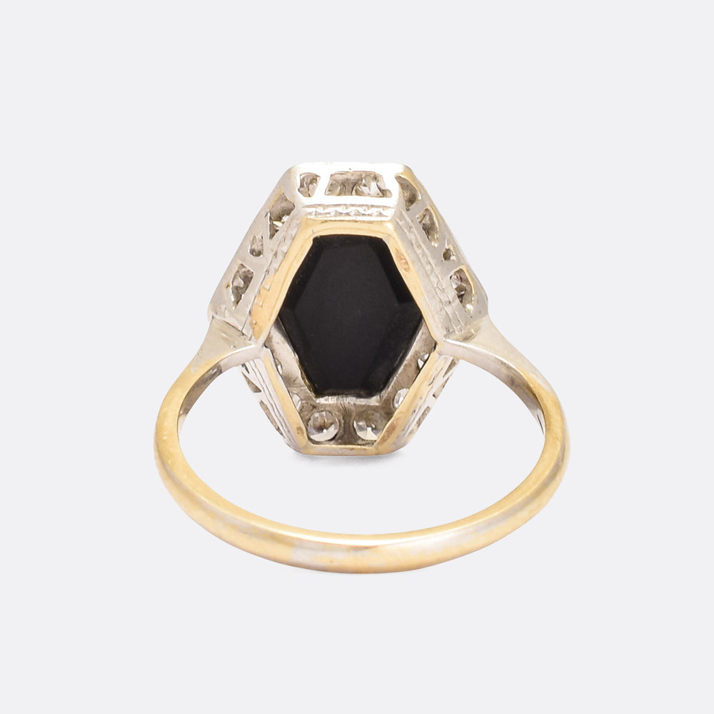 Art Deco Onyx & Diamond Hexagon Cocktail Ring