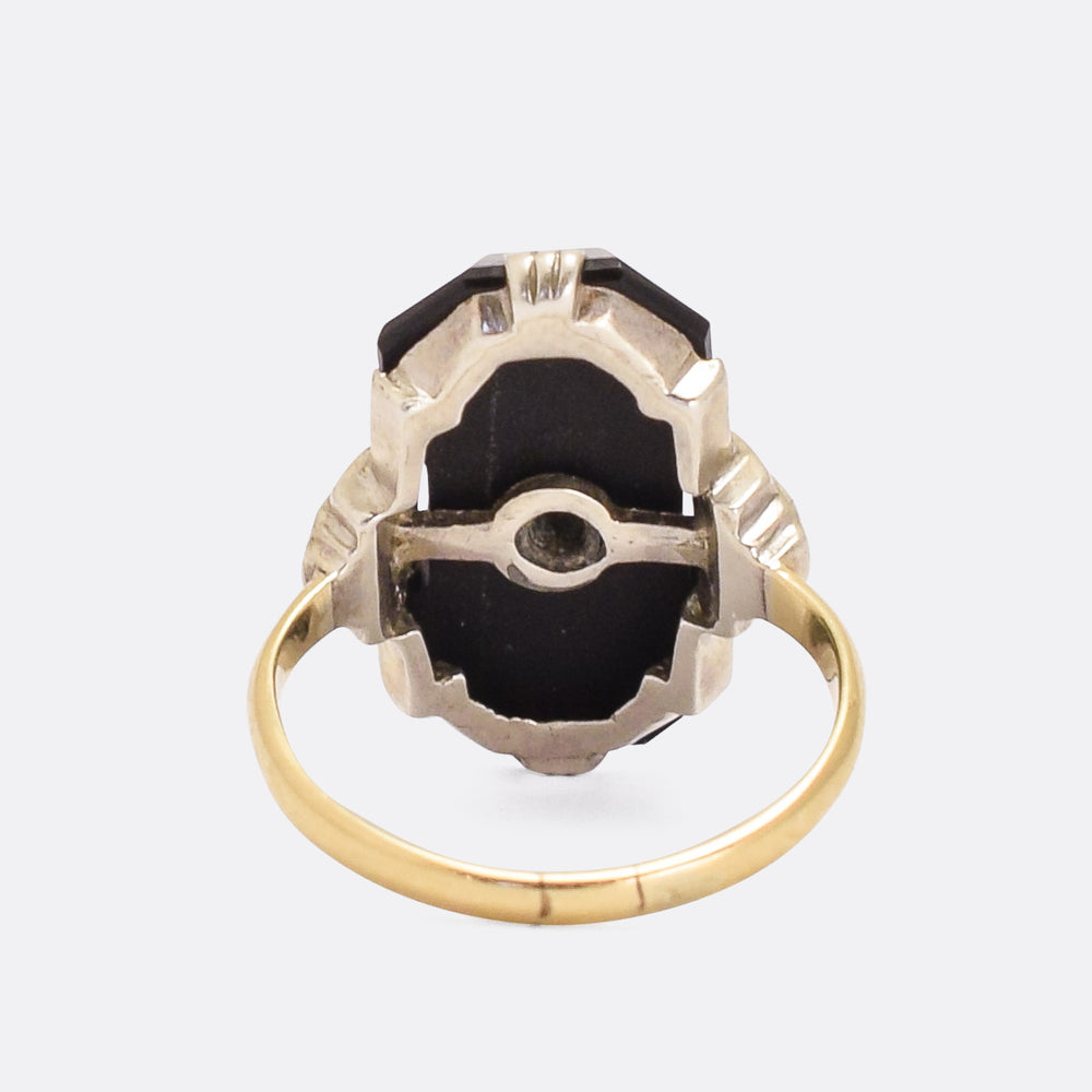 Art Deco Onyx & Diamond Panel Ring