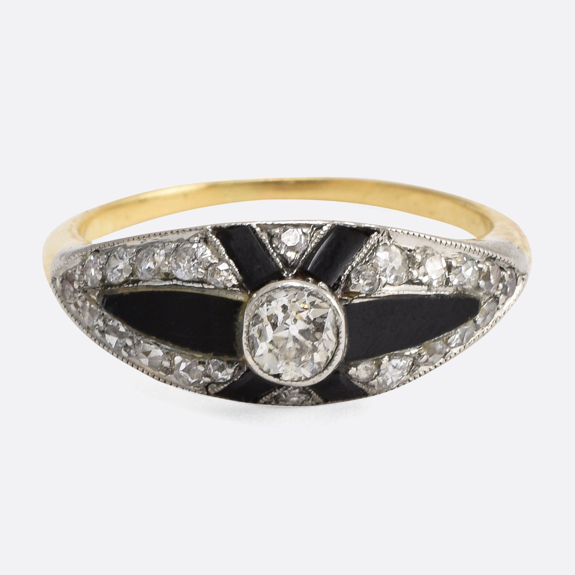 onyx gold cleef diamond size wedding alhambra products ring vintage van yellow rings arpels