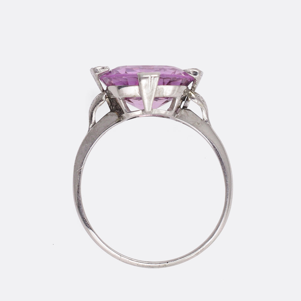 Art Deco Pink Topaz Cocktail Ring