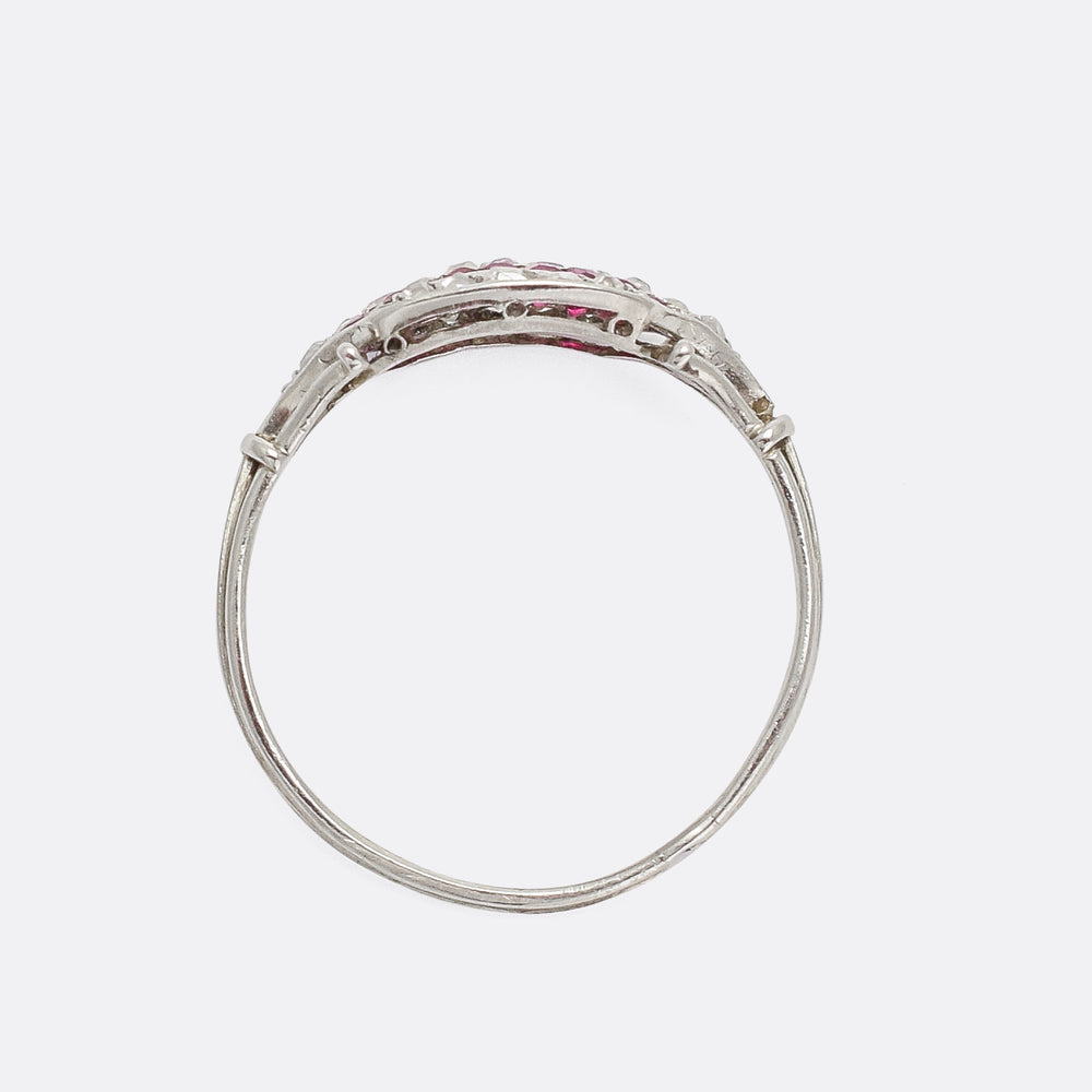 Art Deco Ruby & Diamond Stripes Ring
