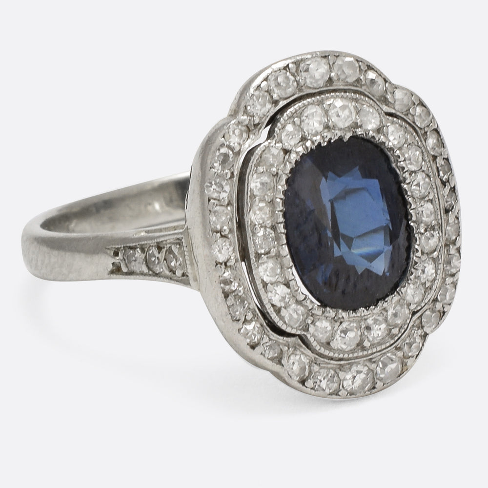 Art Deco Sapphire & Diamond Halo Cocktail Ring