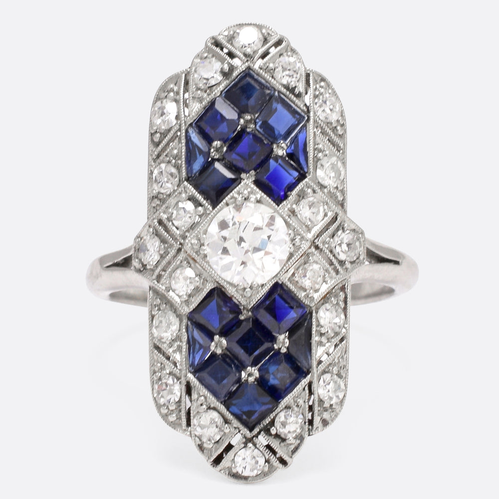 Art Deco Sapphire & Diamond Platinum Cocktail Ring