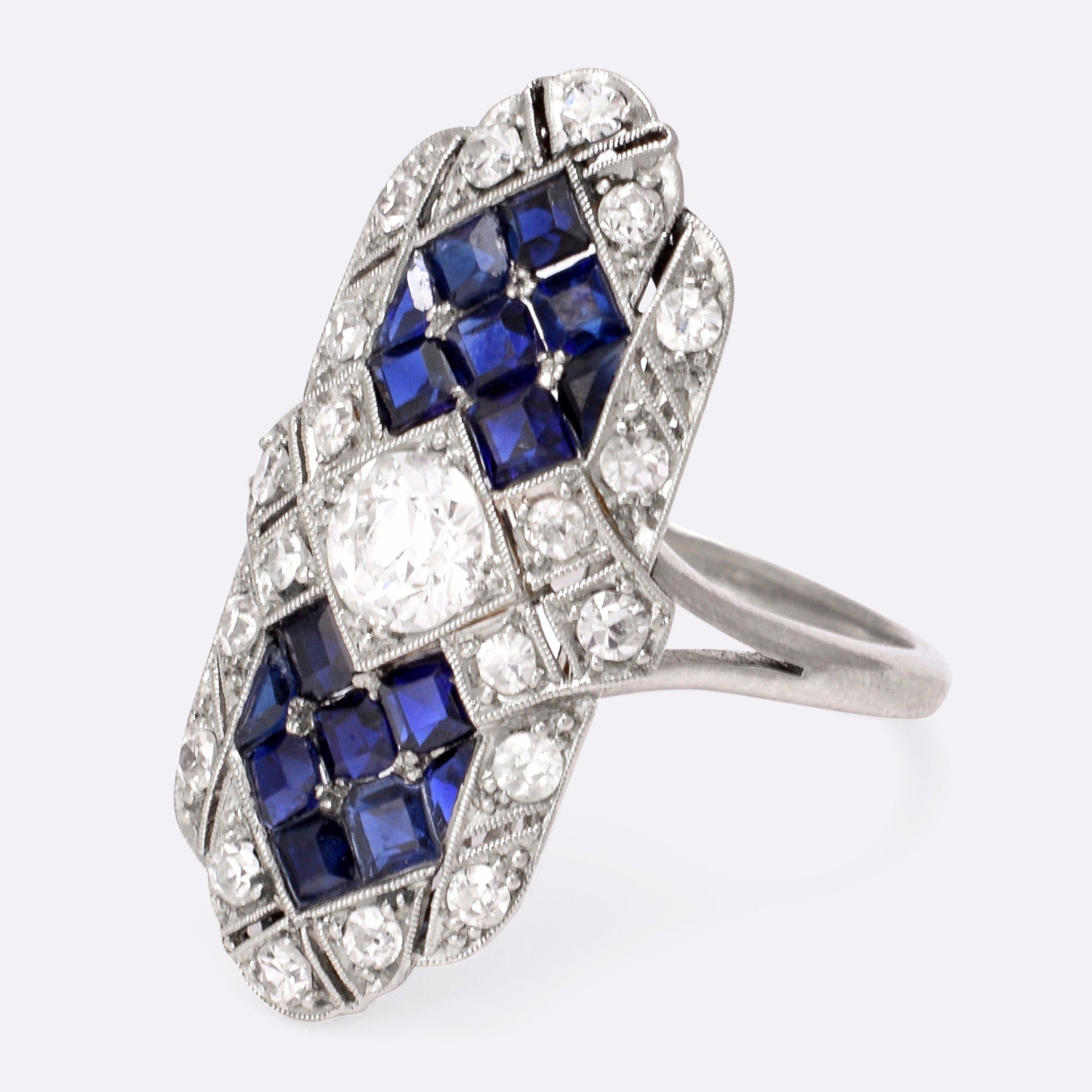 and product diamond sapphire ring cocktail blue vogue boutique image pear engagement