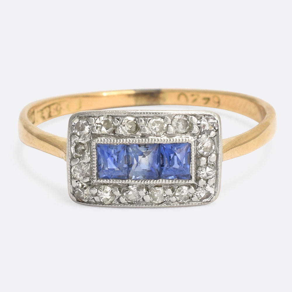 Art Deco Sapphire & Diamond Rectangle Halo Ring