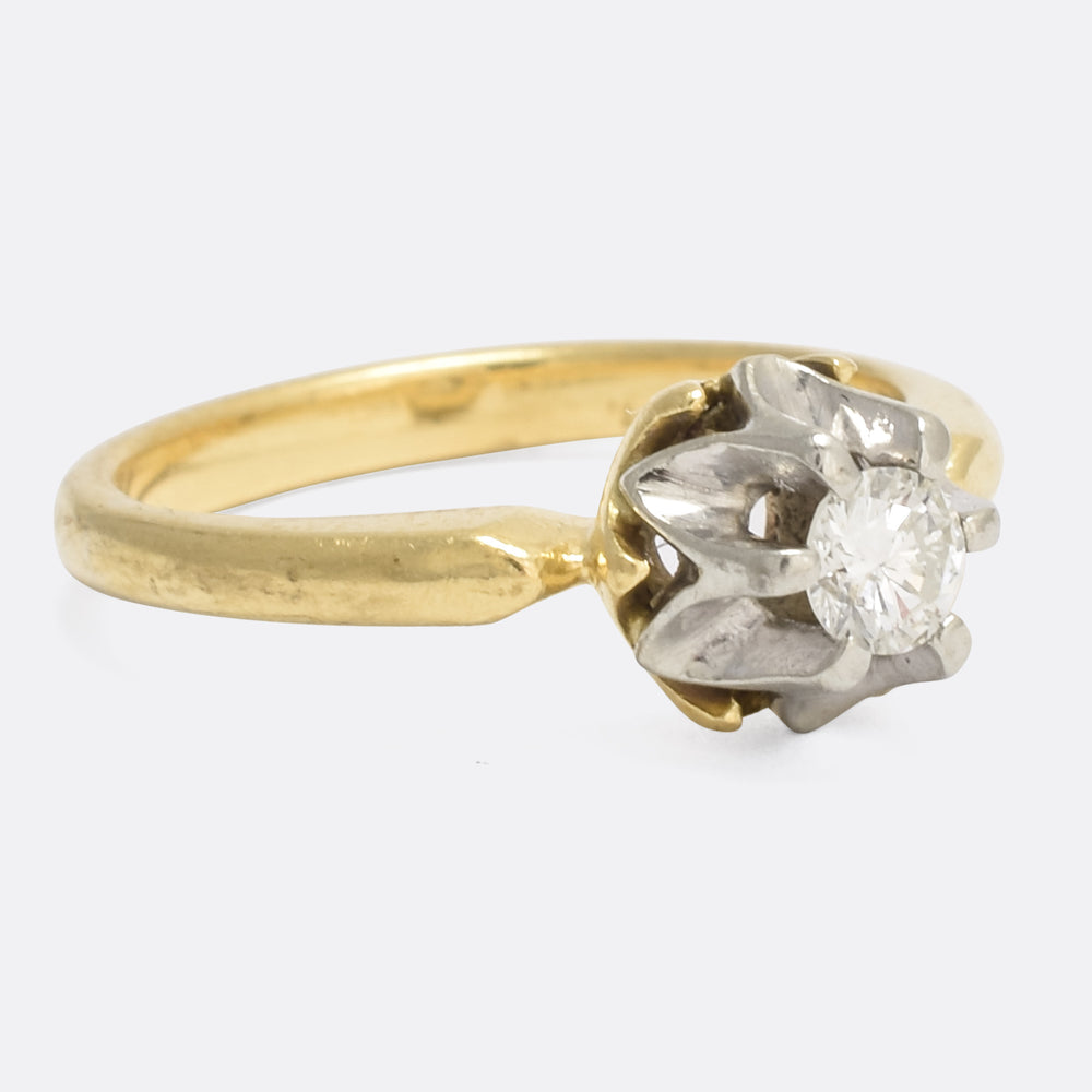 Art Deco Scallop-Set Diamond Solaitire Ring
