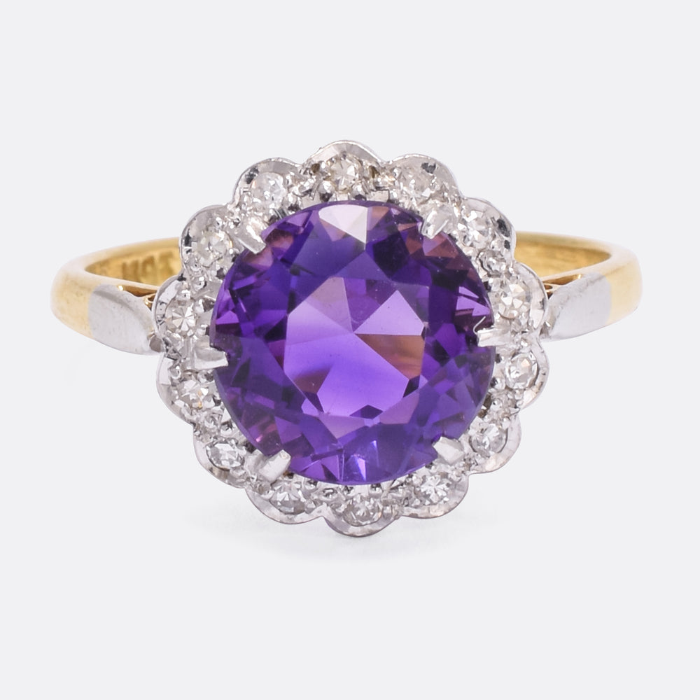 Art Deco Siberian Amethyst & Diamond Cluster Ring