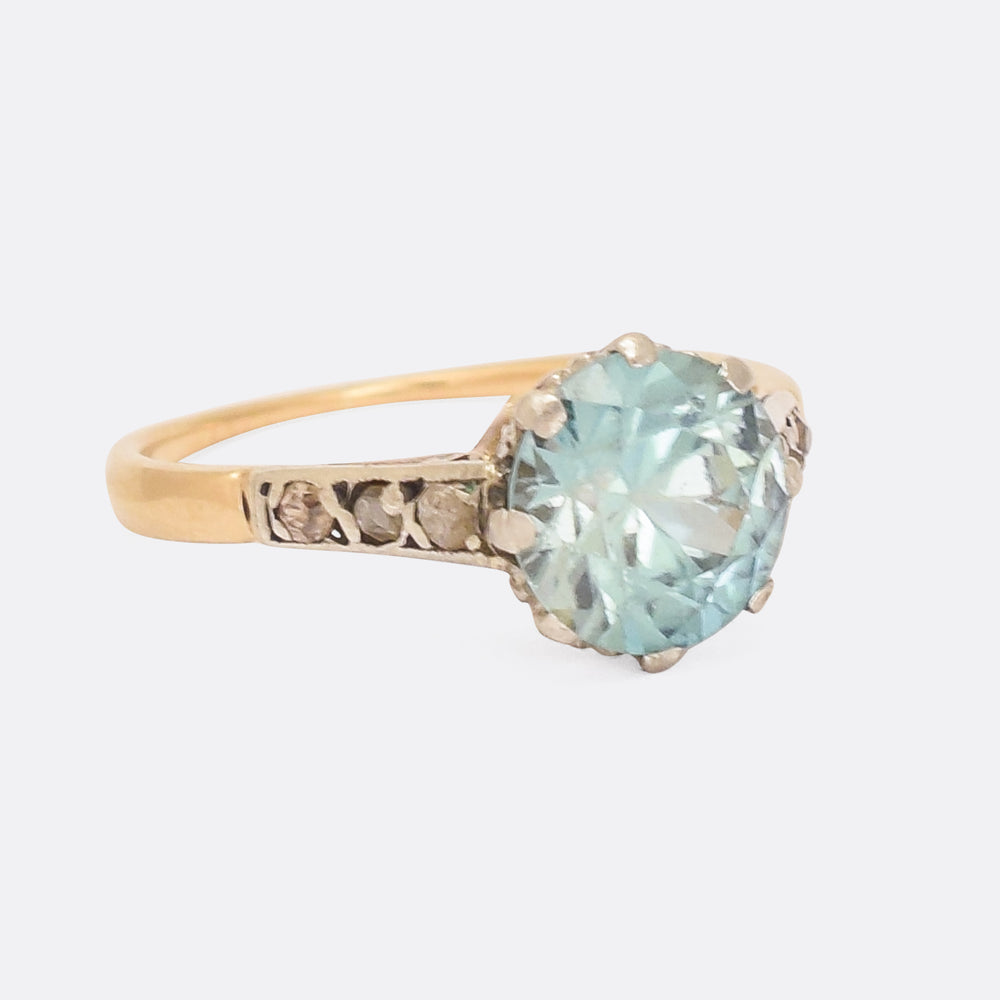 Art Deco Zircon & Diamond Solitaire Ring