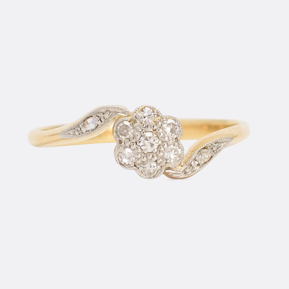 Art Nouveau Diamond Daisy Ring