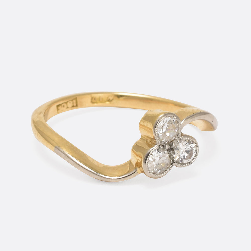 Art Nouveau Diamond Trefoil Ring
