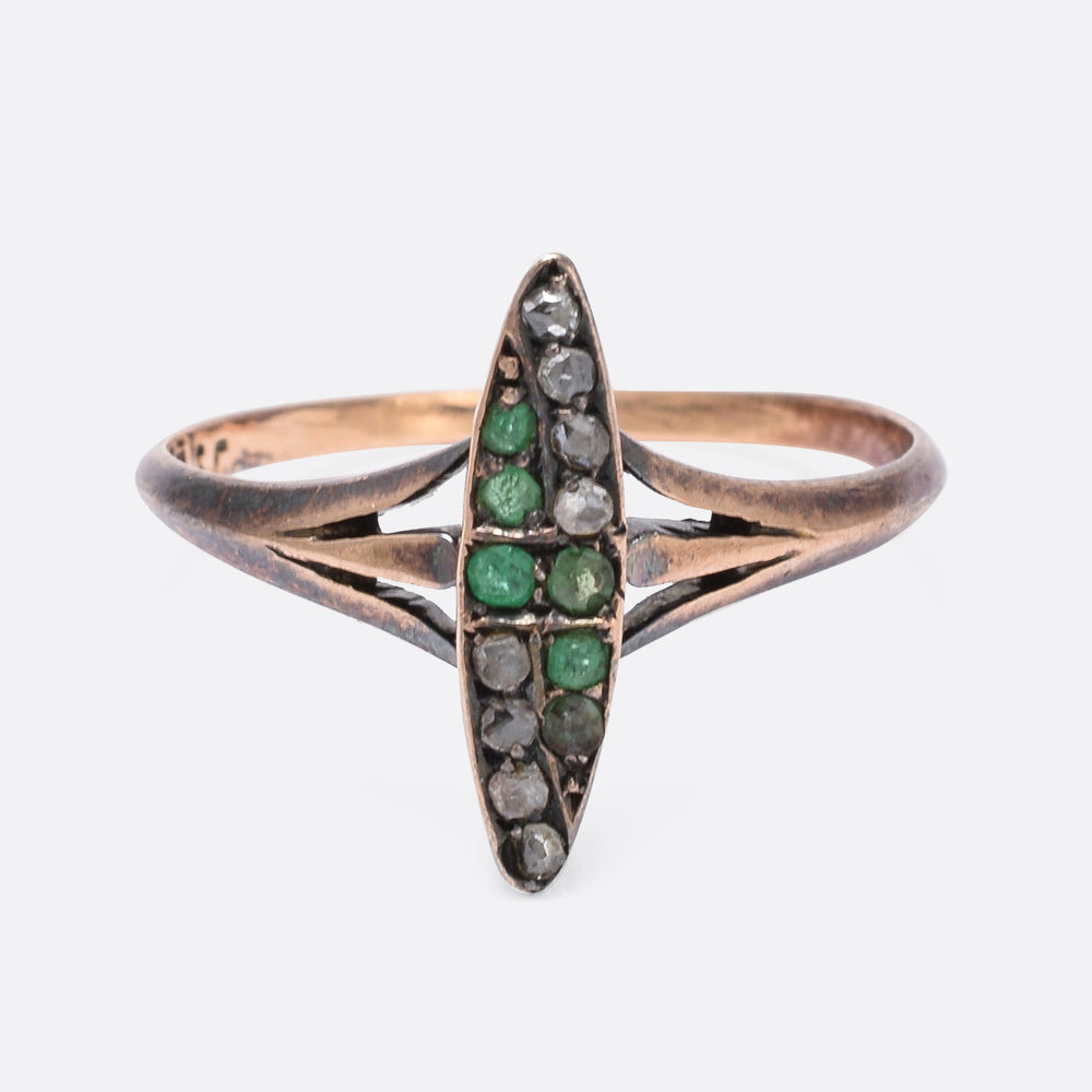 Art Nouveau Emerald & Diamond Marquise Ring