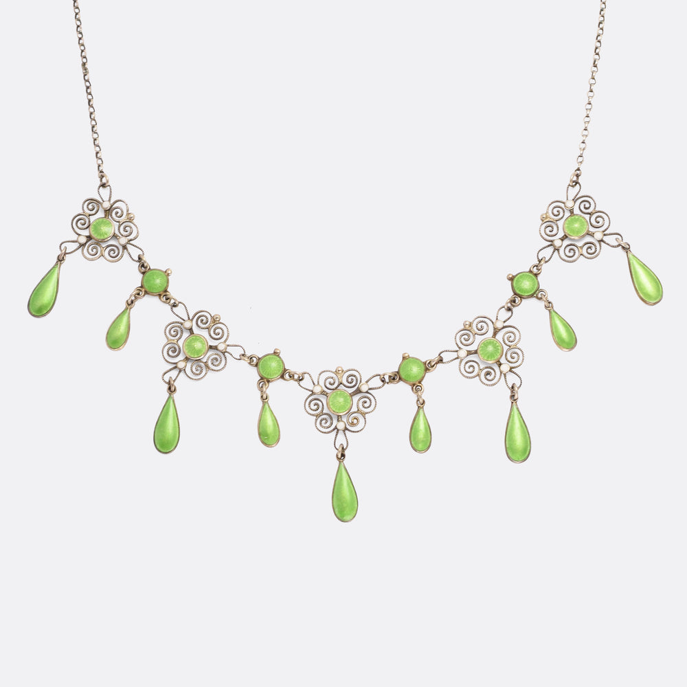 Art Nouveau Filigree Enamel Necklace by Marius Hammer