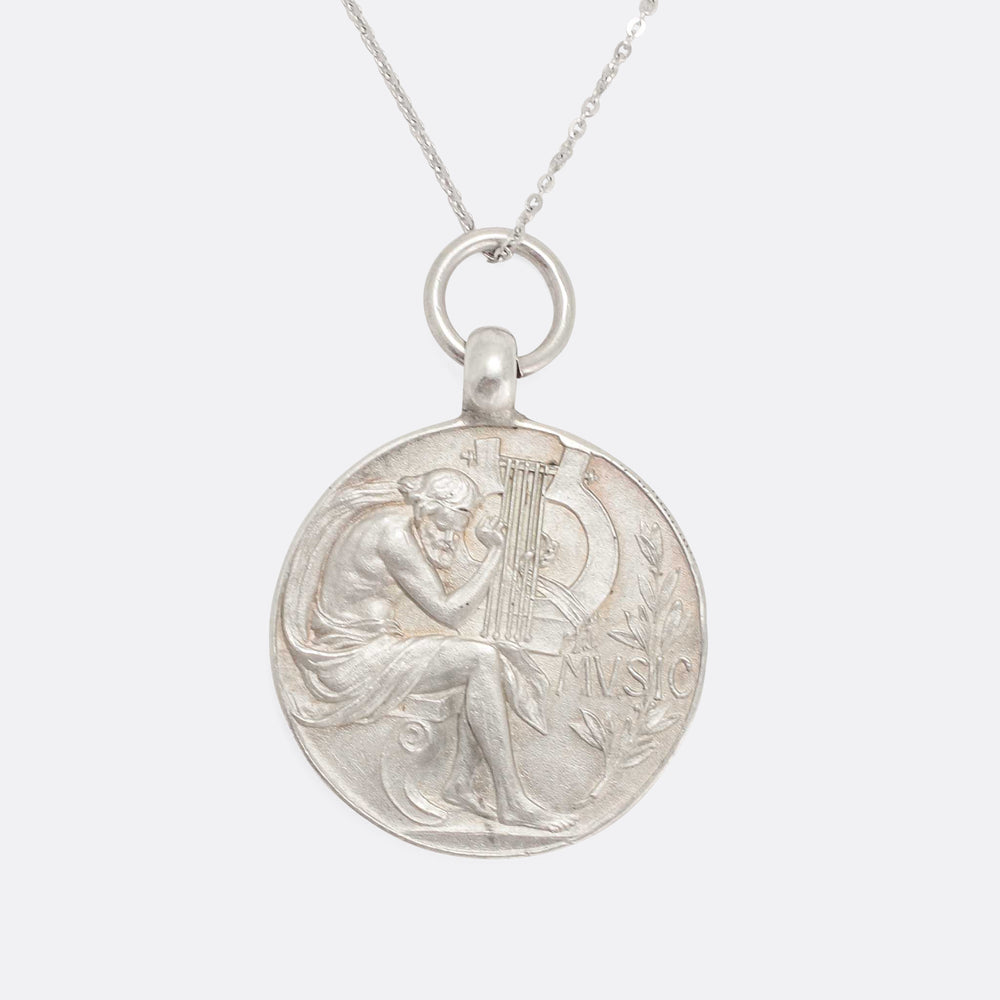 Art Nouveau Orpheus MUSIC Medallion