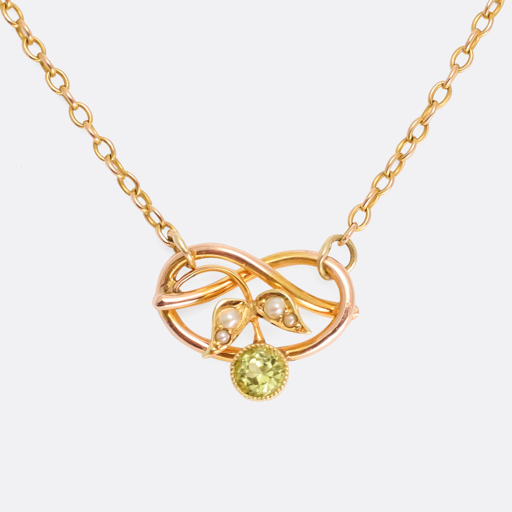 Art Nouveau Peridot & Pearl Lover's Knot Necklace