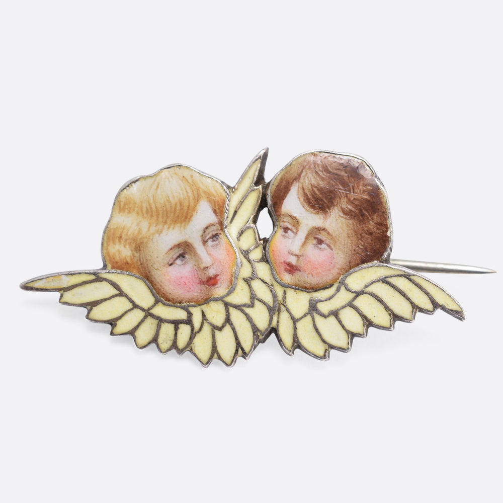 Art Nouveau Winged Cherubs Brooch