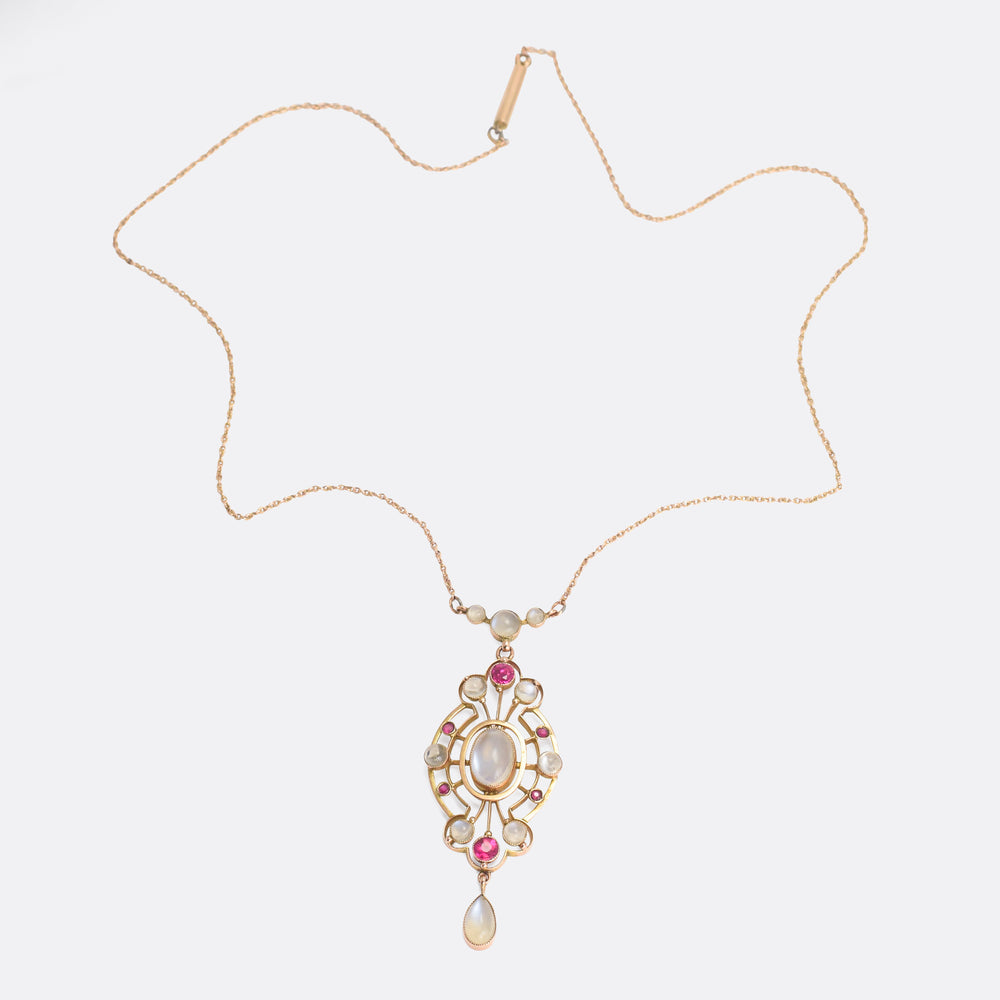 Arts & Crafts Moonstone and Ruby Necklace