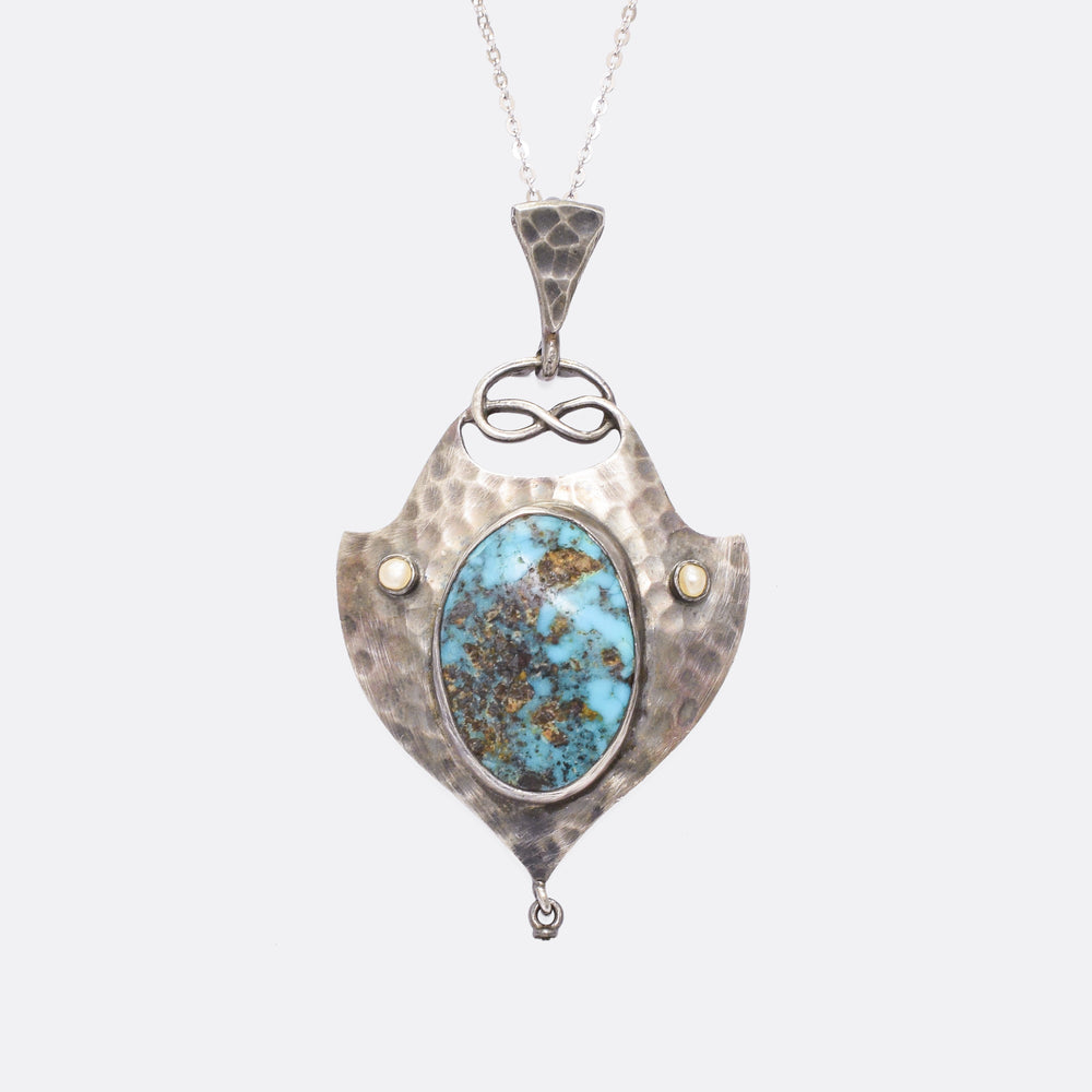 Arts & Crafts Turquoise Matrix & Pearl Pendant by Murrle Bennett