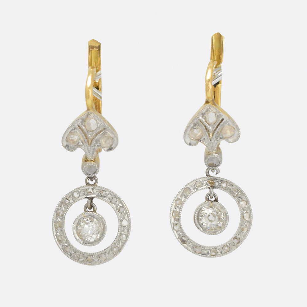 Belle Époque Diamond Halo Leverback Earrings