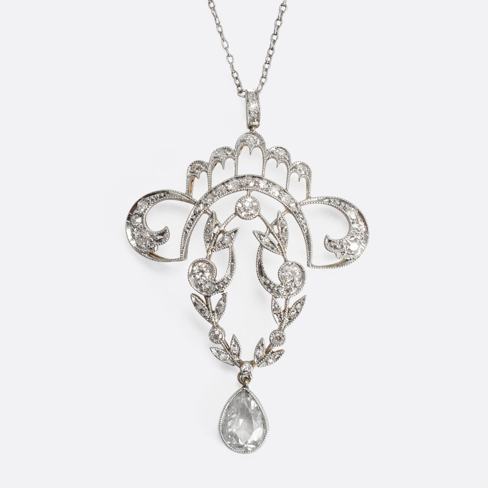 Belle Époque Platinum Diamond Pendant