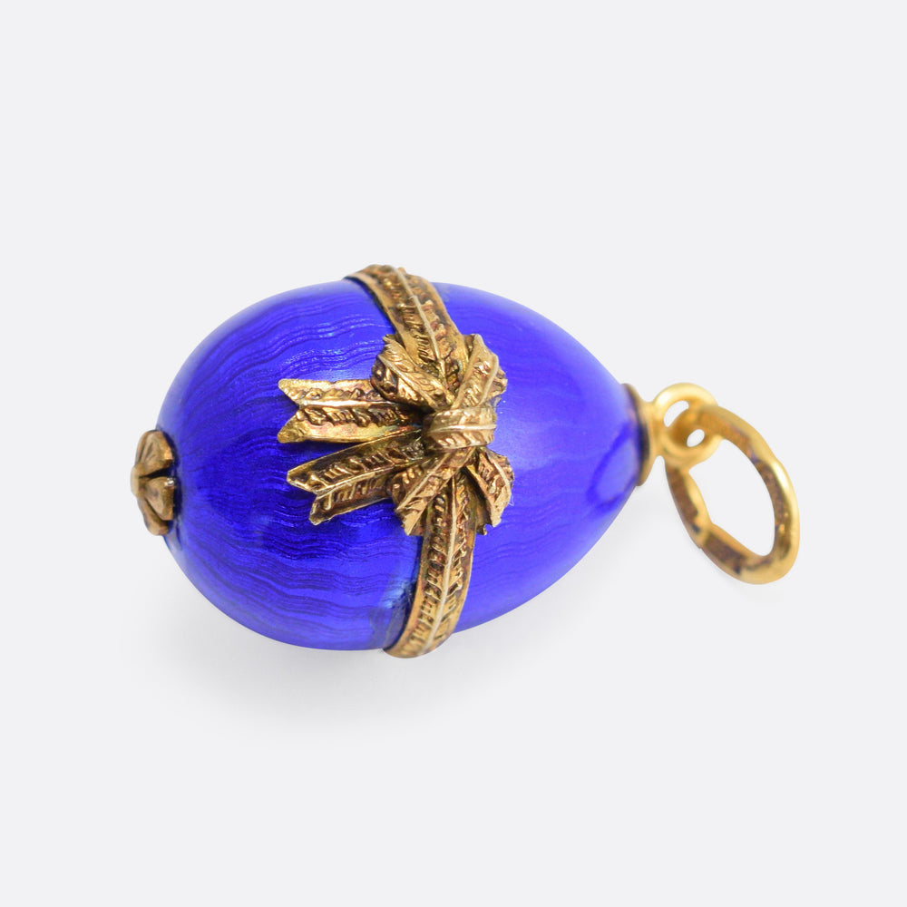 Blue Enamel Bow Russian Miniature Egg Pendant by Ananov