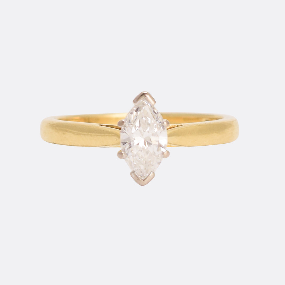 Contemporary .56ct Marquise Cut Diamond Solitaire Ring