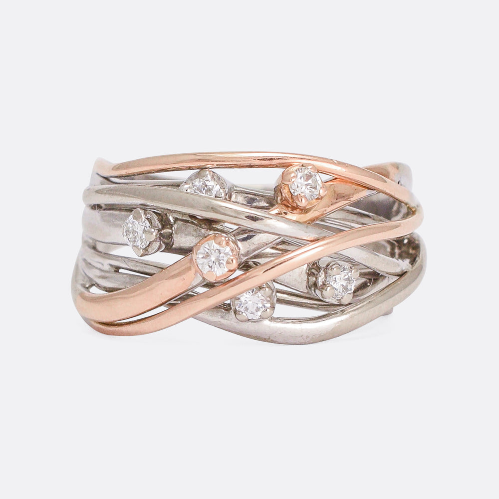 Contemporary Organic Strands Diamond Ring