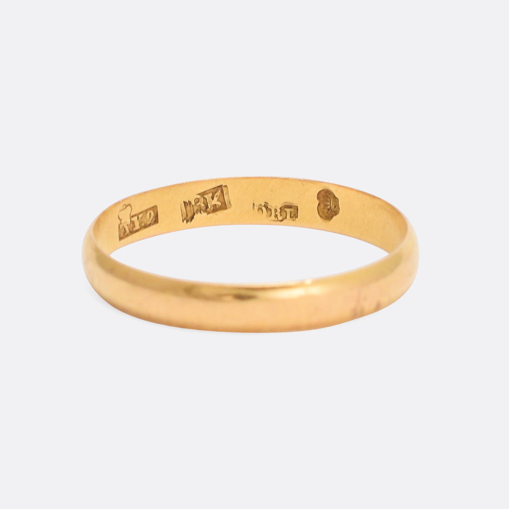 Early Victorian Finnish 18k Gold Wedding Band