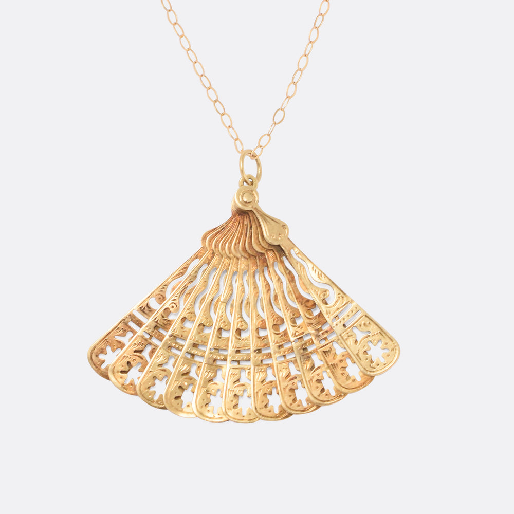 Early Victorian Gold Fan Pendant