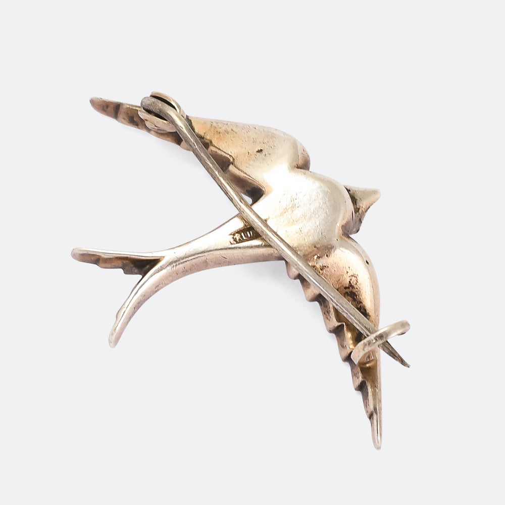 Early Victorian White Paste Swallow Brooch