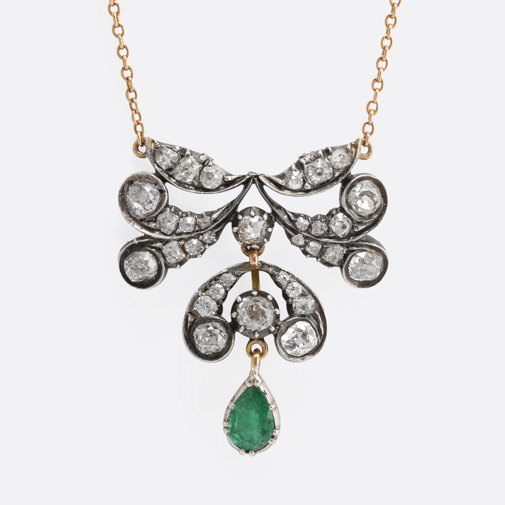 Early Victorian Emerald & Diamond Necklace - Butter Lane Antiques