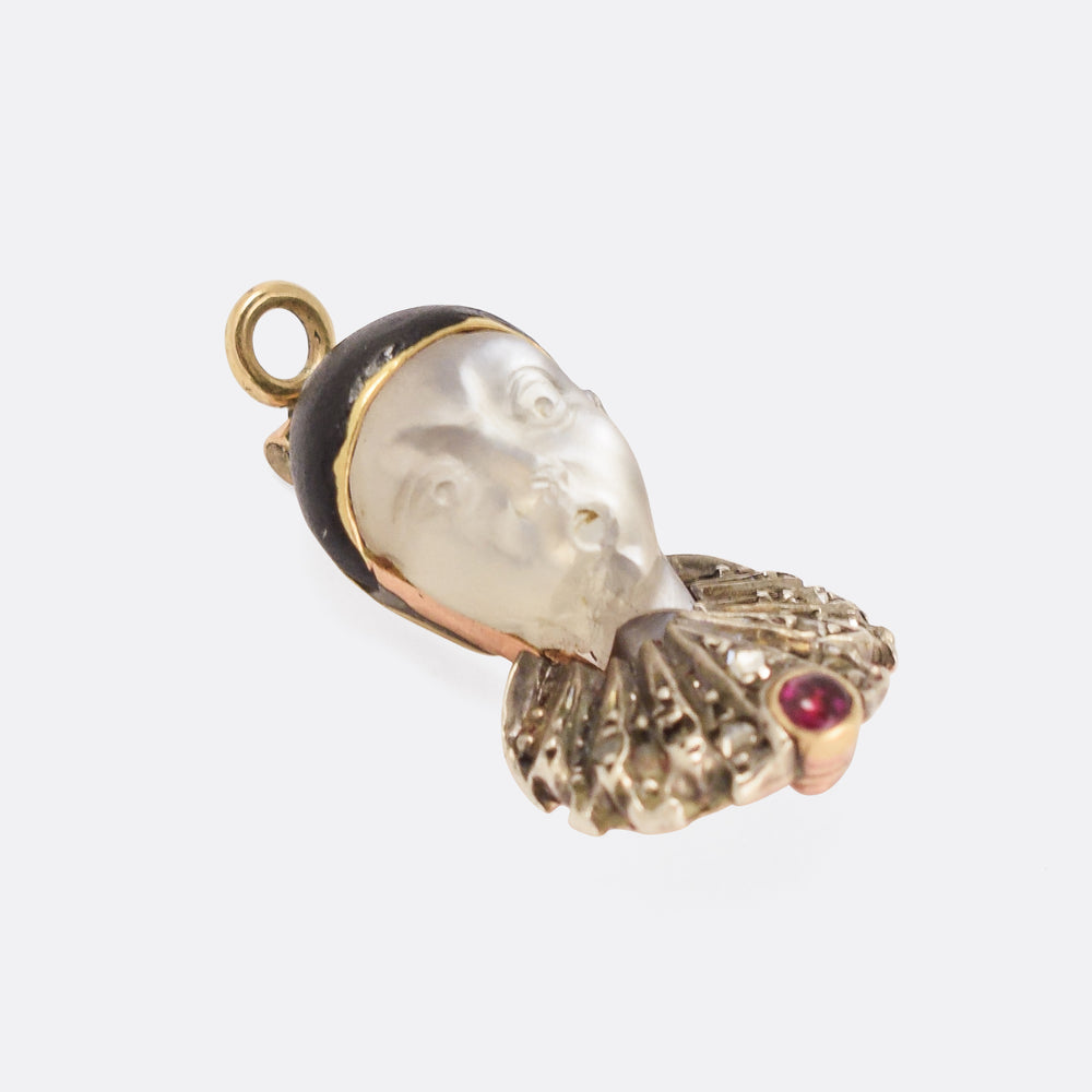 Early Victorian Moonstone Pierrot Pendant