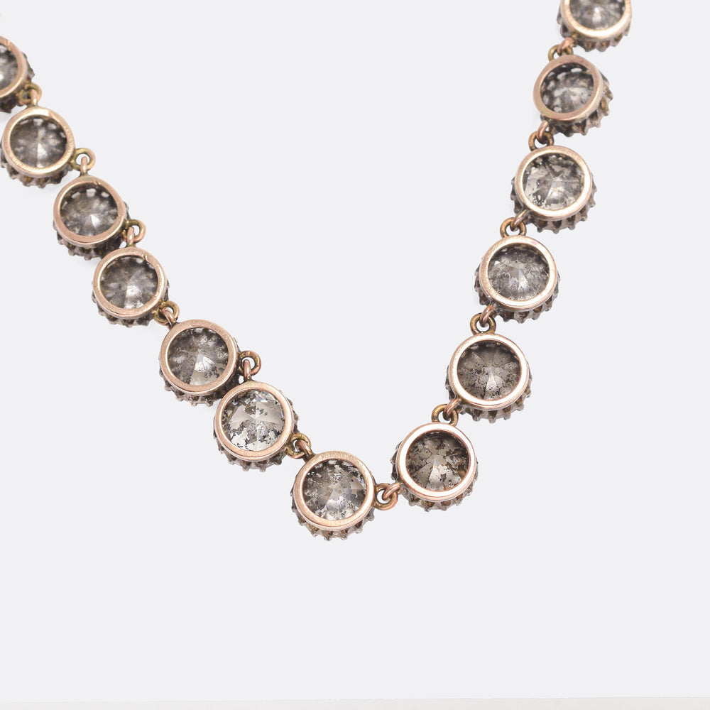 Early Victorian Old Cut Paste Rivière Necklace