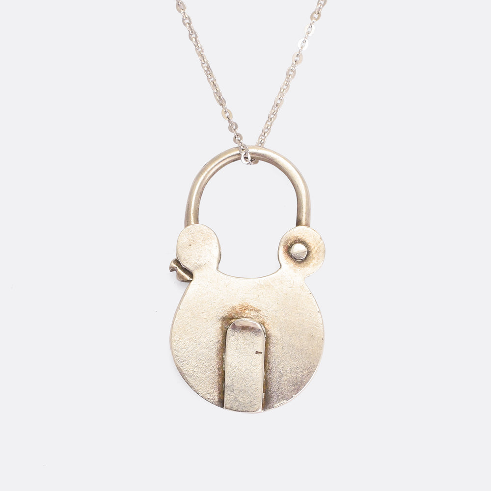 Early Victorian Silver Padlock Pendant