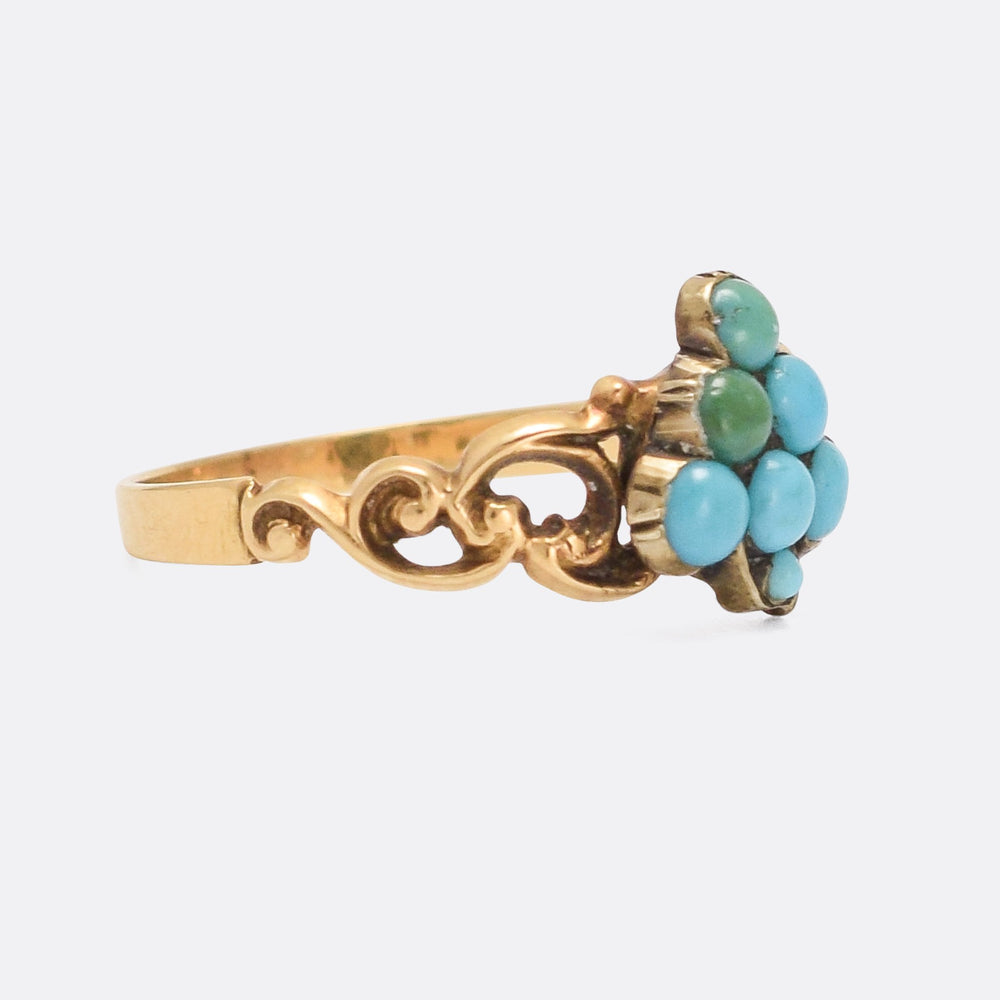 Early Victorian Turquoise Grape Bunch Ring