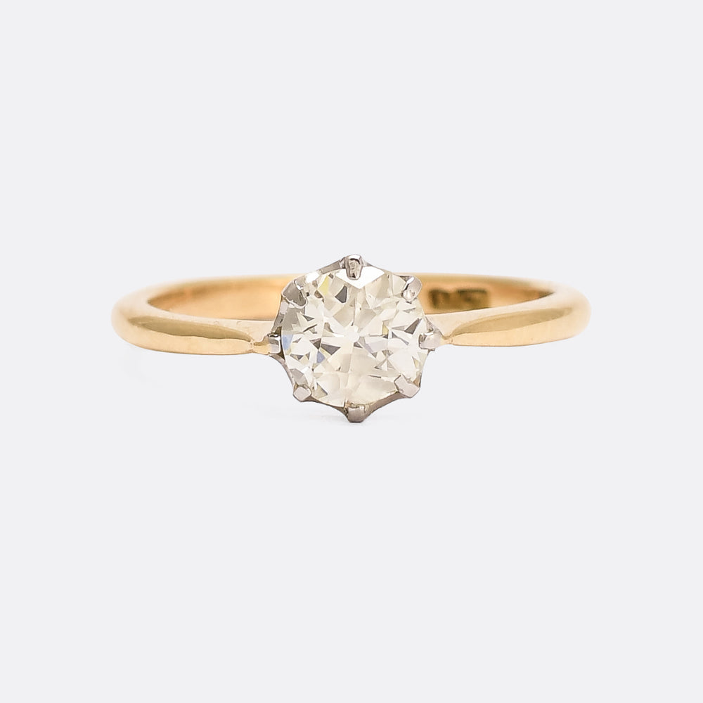 Edwardian .90ct Old Cut Diamond Solitaire Ring