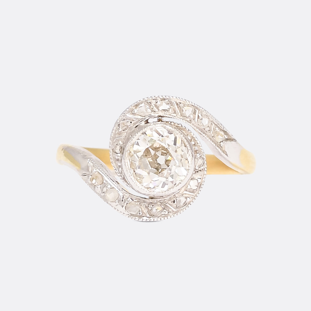 Edwardian 1.05ct Old Cut Diamond Swirl Ring