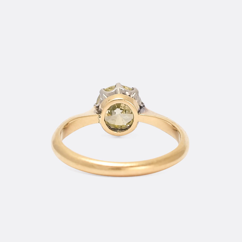 Edwardian 1.11ct Fancy Yellow Diamond Solitaire Ring