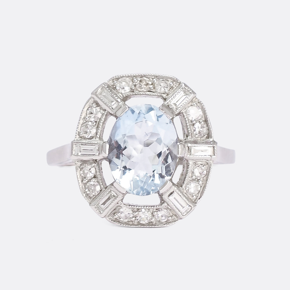 Edwardian Aquamarine & Diamond Cocktail Ring