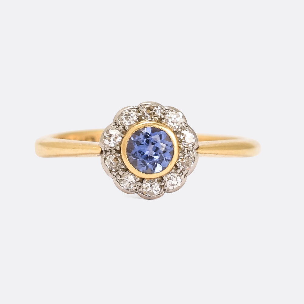 Edwardian Cornflower Sapphire & Diamond Cluster Ring