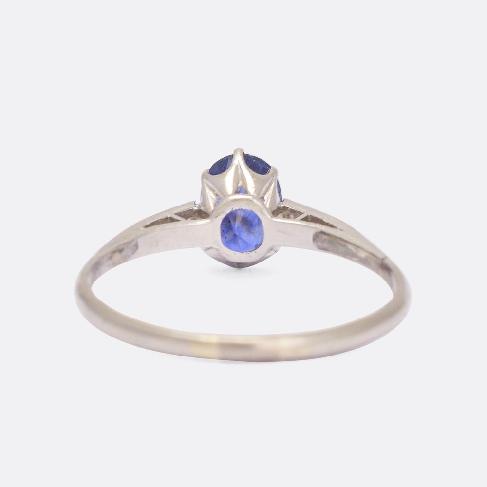 Edwardian Cornflower Sapphire & Diamond Solitaire Ring