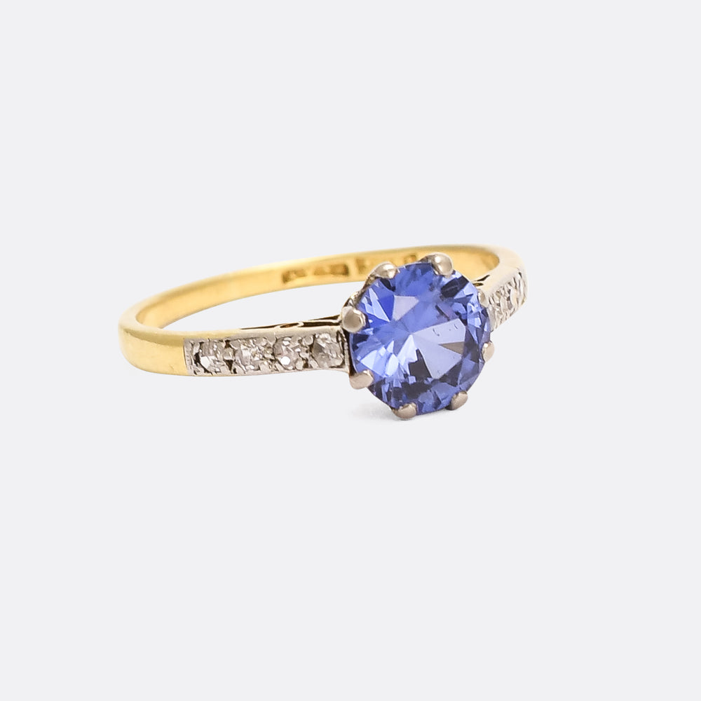 Edwardian Sapphire & Diamond Solitaire Ring