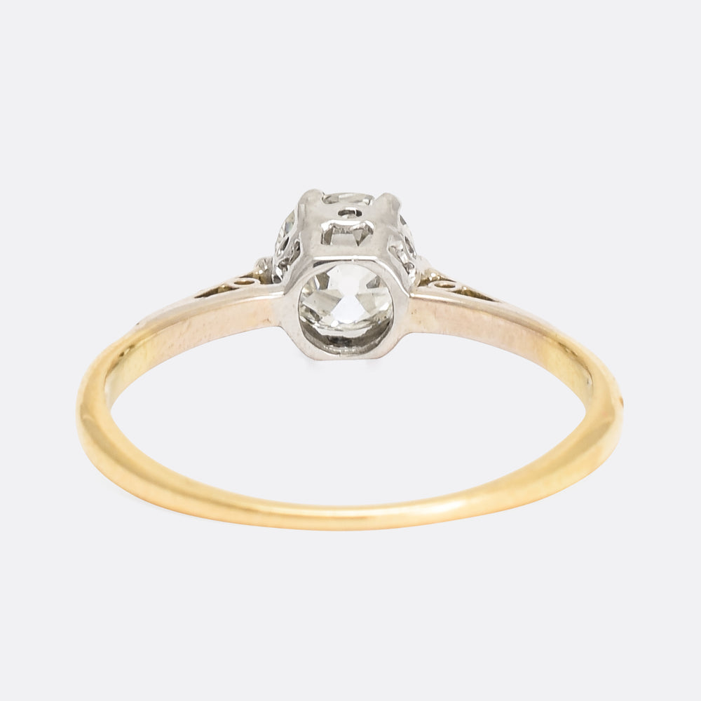 Edwardian 0.78ct Cushion Cut Diamond Ring