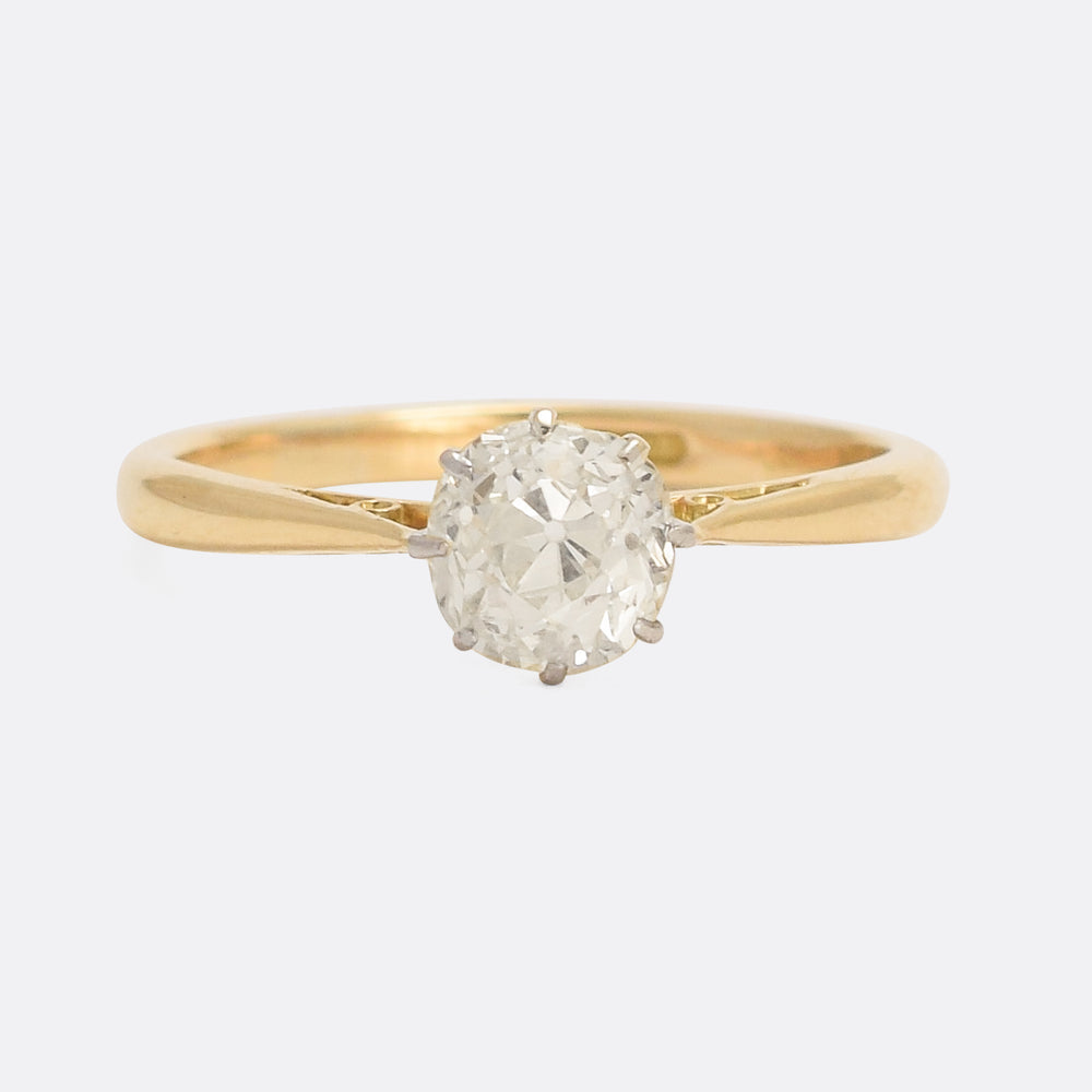 Edwardian 1.22ct Cushion Cut Diamond Solitaire Ring